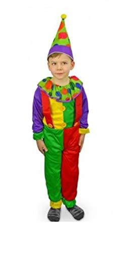 Vestito di Carnevale Unisex Clown da 3 A 12 Anni Bambini per Recita Scuola Teatro Fair (9-12 Anni)