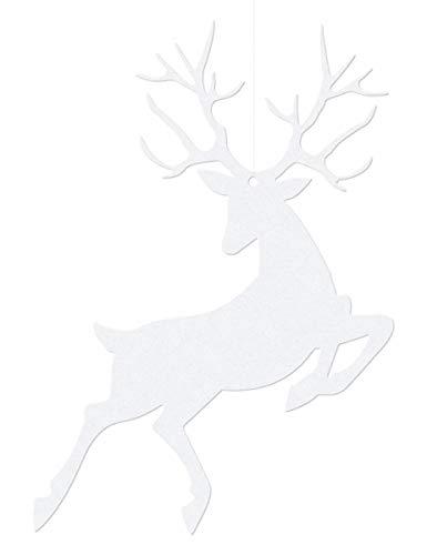 Party Deco 10 Suspensions en Papier Renne de Noël Blanc 9,4x14,5 cm