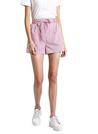 BESIVA Women's Stripe Belted Cotton Shorts