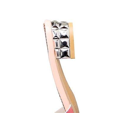 LvYuan Damen-Sandalen-Kleid Lässig-Glanz maßgeschneiderte Werkstoffe-Blockabsatz-Komfort Club-Schuhe-Rosa Silber Gold Pink