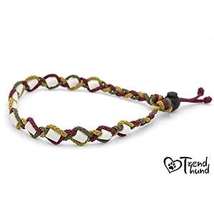 EM-Keramik Halsband, geflochten in bordeaux/oliv/gold für Hunde