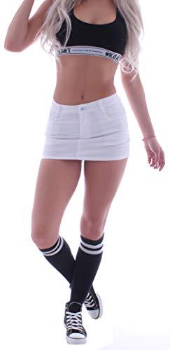 Damen Jeans Minirock Miniröcke Rock Weiß Tiefsitzend (XS 34) gr größe size jeansrock jeansröcke mini kurz stoffrock stoffröcke stretch-rock stretch sexy gogo midi tiefsitzend-e hüftrock low waist rise
