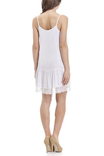 Laura Moretti - Ärmelloses Polka Dot Seidenkleid mit Spitze Weiß