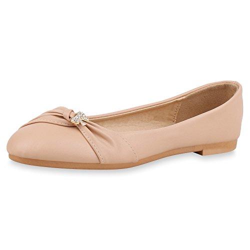 SCARPE VITA Klassische Damen Schuhe Ballerinas Strass Flats Slip Ons Leder-Optik 161457 Creme Strass...