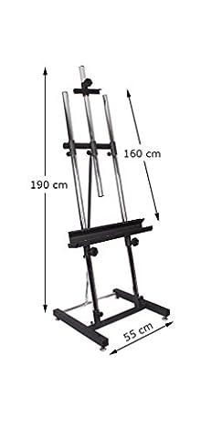 Staffelei Ständer, Neuer Robuster, Hochwertiger und Höhenverstellbarer Ständer, Gepulvertes Stahlblech und Verchromtes Rohr
