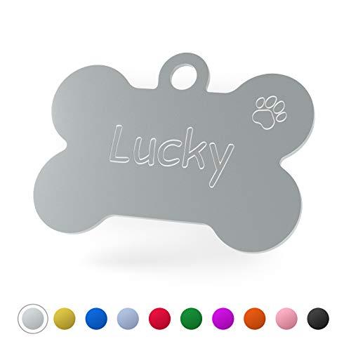 ENGRAVO Hundemarke Knochen in Silber 38mm mit Deiner persönlichen Gravur und 2 gratis Schlüsselringe