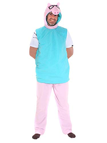 Pig Daddy Kostüm - Fancy Me Herren Erwachsenen Papa Schwein Peppa Wutz T.V World Book Day World Book Woche Cartoon Kostüm Outfit