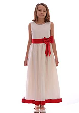 Girls cream and red dress wedding christening 6 12 month for Amazon dresses for weddings
