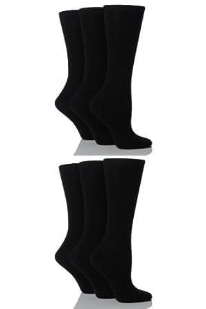 Ladies 6 Pair Sockshop Plain Bamboo Socks In 3 Colours - 4-7 Ladies - Black