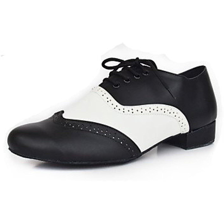 Chaussures de danse(Noir blanc) -Personnalisables-Talon Bottier-Cuir-Latines Jazz Jazz Jazz Modernes Chaussures de Swing - B072L13DH8 - 8cb649
