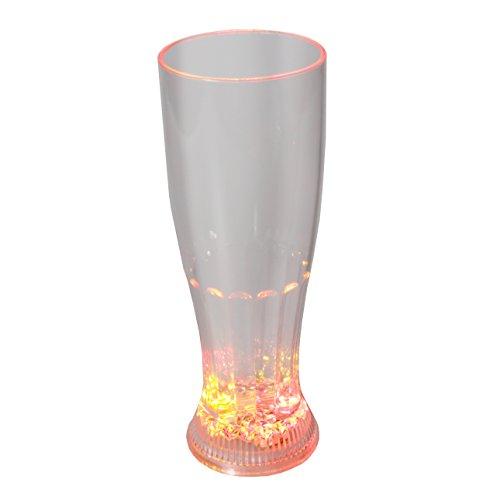 (Rattan4Life Bella casa Glas Becher Weizenglas 650 ml LED RGB bunt oder blinkend Batterie wechselbar Bar Kunststoff Trinkglas Beleuchtet)