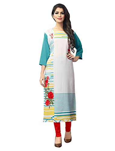 1 Stop Fashion Women's White-Blue Coloured Crepe Knee Long W Style Kurtas/Kurti