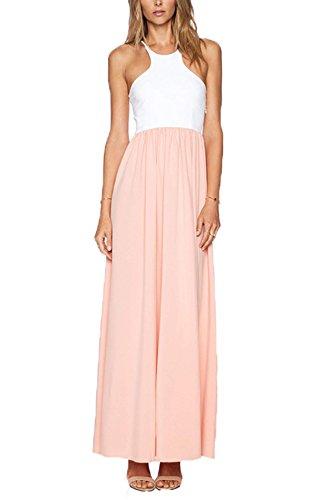 Zeagoo - Sexy Robe longue bohème style robe de plage sans manches robe en mousseline col rond 2015 Eté Femme
