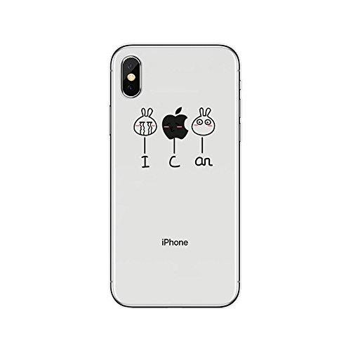 SevenPanda für iPhone X Hülle TPU, Transparent [Weich Silikon][Ultra Dünn] Kreativ Einzigartig mit süßes Motiv SchutzHülle für iPhone XS/iPhone 10 5.8 Zoll Freigegeben - I Can -