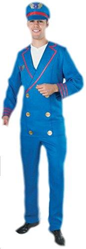 erdbeerloft - Herren Piloten Uniform Kostüm- Hose Jacke Hut, blau, L-XL (Männlich Pilot Kostüme)