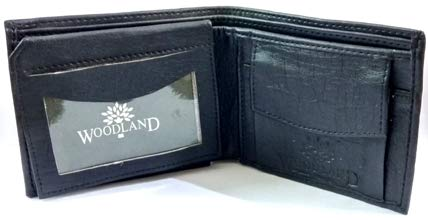 Woodland Black Men's Leather Formal Regular Wallet