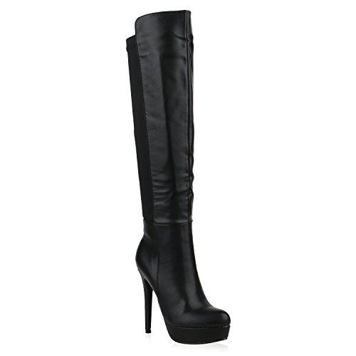 Stiefelparadies Damen Plateaustiefel Leder-Optik Stiletto High Heels Plateau 151960 Schwarz Brito 38 Flandell