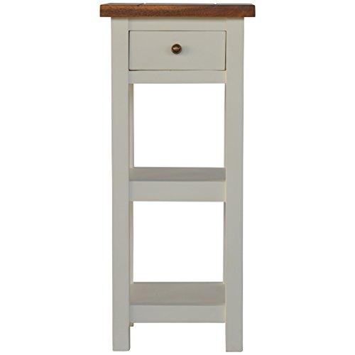 ndwerker 2Straffen Lampe oder Telefon Tisch mit 1Schublade & 2Einlegeböden, Holz, Speicher Top und weiß lackiert Boden ()
