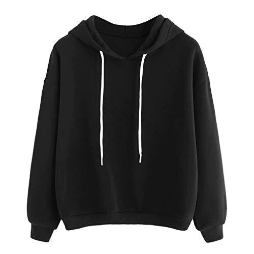 Hoodie Damen Solid Pullover Langarm Bluse Basic-Shirt Lose Top LäSsige Oberteile Damen,S-XL_Sonojie -