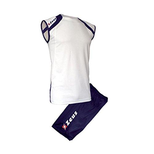 Kit Fly Zeus Bianco-Blu Calcio Uomo Donna Calcio Jogging Calcetto Muta Torneo Scuola Sport (M)