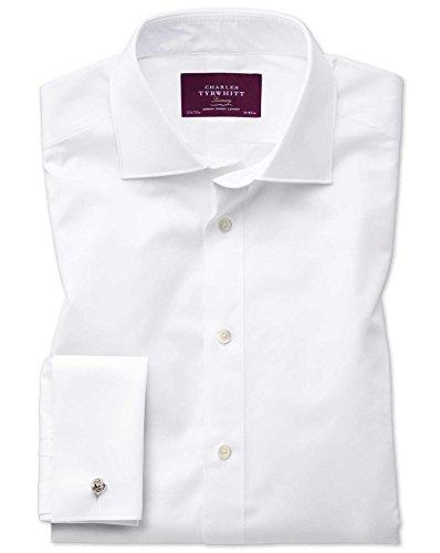 Slim Fit Luxushemd aus Twill mit Semi-Haifischkragen in weiß weiß (Umschalgmanschette Cuff)