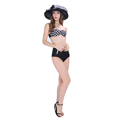 Missyhot Damen Bademode Polka Dots Zweiteiliges Schwimmenanzug Monokini mit Punkten Push-Up Bikini Set Neckholder Badeanzug Hohe Taille Hut und Badeanzug