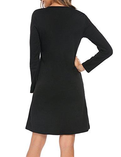 Beyove Damen Herbst Frühling Freizeitkleid Jerseykleid Langarm Etuikleid Casual Bleistiftkleid mit Tunnelzug in der Taille Z+Schwarz
