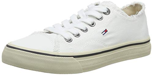 Tommy hilfiger wmn lowcut tommy jeans sneaker, scarpe da ginnastica basse donna, bianco (white 100), 39 eu