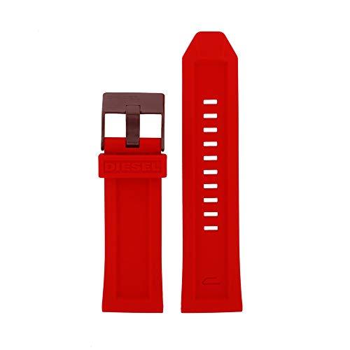 Original Uhrband Wechselarmband LB-DZ4427 Ersatzband für Diesel DZ4427 Uhrenarmband Kautschuk 26 mm Rot
