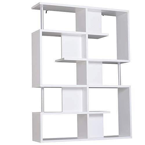 benzoni Mobile a Scaffali Libreria 5 Livelli in Legno Bianco 120x28.6x160 cm
