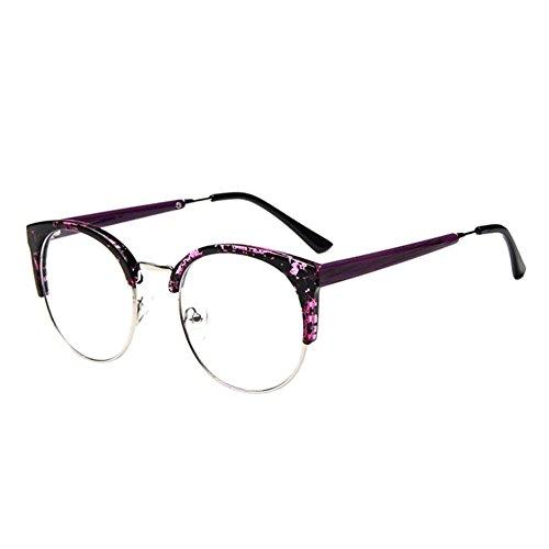 Deylaying Persönlichkeit Cat Eye Groß Rahmen Eyewear Kurz Entfernung Kurzsichtig Kurzsichtigkeit Brille Blau Licht Filter Linsen (Stärke -1.0, Lila) (Diese sind nicht Lesen Brille)