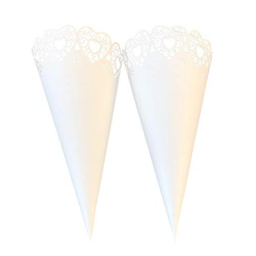 Toyvian 50 stücke Hochzeit Konfetti Kegel Papier Zapfen Bouquet Süßigkeiten Schokolade Taschen Hochzeit Favor Geschenke Blumen Wickelrohr (Weiß) - Papier Zapfen Essen