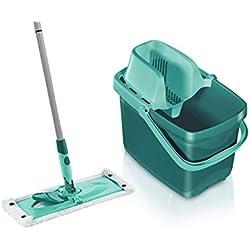 Leifheit Set Combi Clean, seau et balai essoreur faciles d'utilisation, balais serpillière avec mécanisme d'essorage intégré, kit de lavage sol vert