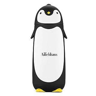 Ailiebhaus 304 Edelstahl-Thermosflasche Mini süße Penguin Isolierflasche Tee Kaffee Cup Tasse,für Kinder,Schwarz