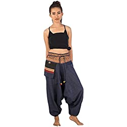Lofbaz Pantalones de algodón Hmong impreso algodón Harem Diseño # 5 Azul oscuro