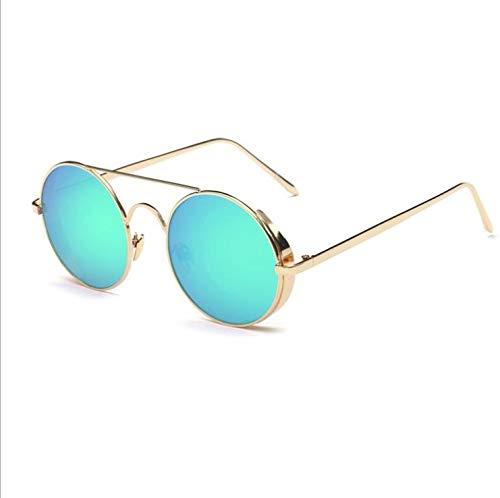 Punk Dampf Runde Damen Sonnenbrille Big Box Retro Herrenmode helle Sonnenbrille Stern mit dem gleichen Absatz Spiegel (Color : Green)