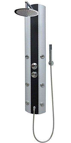 Duschpaneel mit Thermostat Silber Eckmontage und Wandmontage Duschbrause mit 6 Massagedüsen Regendusche Handbrause