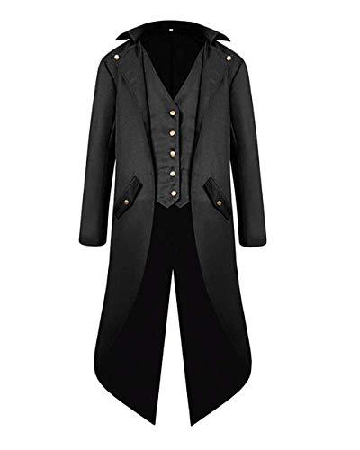 VERNASSA Verkleidungen für Erwachsene, Herren, Retro, Vintage, Steampunk, Gothic, Tailcoat, Uniform, Kostüm, Outwear Gr. XX-Large, Schwarz (Renaissance Kostüm Für Jugendliche)