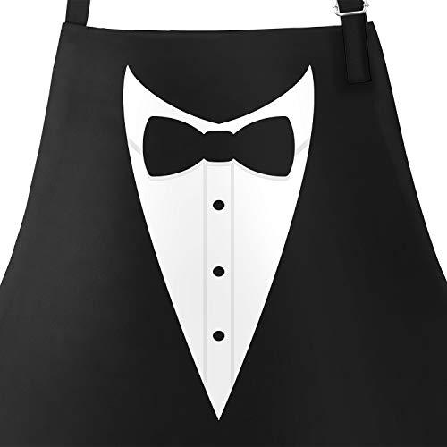 hürze für Männer Grillschürze Smoking Suit Anzug Fliege lustig Baumwoll-Schürze Küchenschürze schwarz Unisize ()