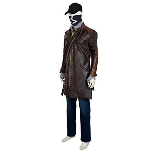 nihiug Watchdog-Spiel Aiden Pierce mit Cosplay-Kostümen Komplettset Kaffee-Halloween-Kostüme nach Maß,Brown-2XS(153to157)