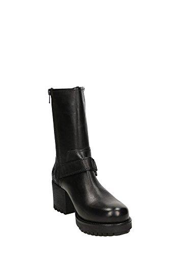 CAF NOIR GG538 chaussures noires talon de chaussure zip de femme à talons boucle Nero