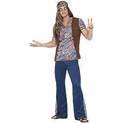 Smiffys 45517M Déguisement Homme Orion Le Hippie, Bleu, Taille M