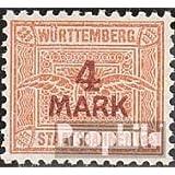 Württemberg 4 marcos con marca de agua Cruces y Anillos 1906 Staatsbahnen (sellos para los coleccionistas)