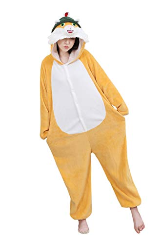 Stewardess Kostüm Männliche - URVIP Neu Unisex Adult Pyjama Cosplay Tier Onesie Body Nachtwäsche Kleid Overall Animal Sleepwear Schlafanzug mit Kapuze Erwachsene Cosplay Kostüm Orange-Tier S