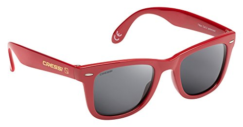 Cressi Tortuga Sonnenbrille, Rot/Hellgrau Linses, One Size