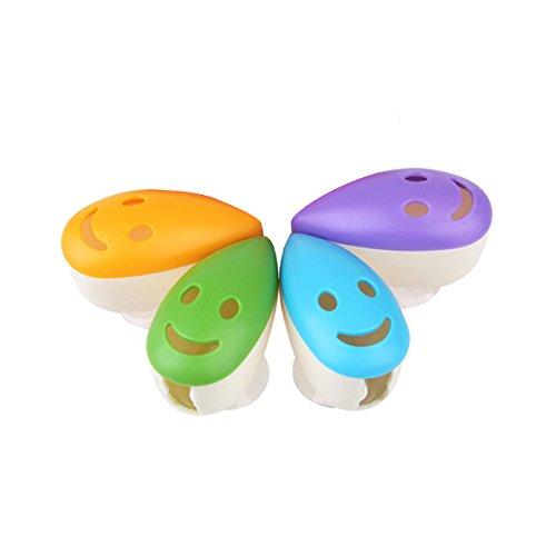 ROSENICE Zahnbürstenhalter mit Saugnapf Lächeln Gesichts Design 4pcs