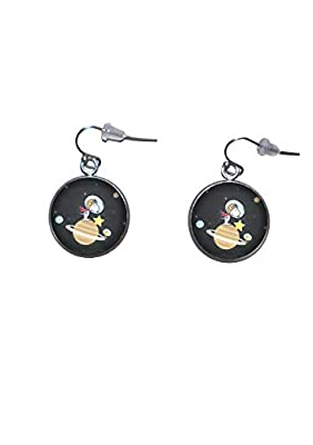 Boucles d'oreilles suspendues en acier inoxydable, diamètre 20 mm, fait à la main, illustration Snoopy 4