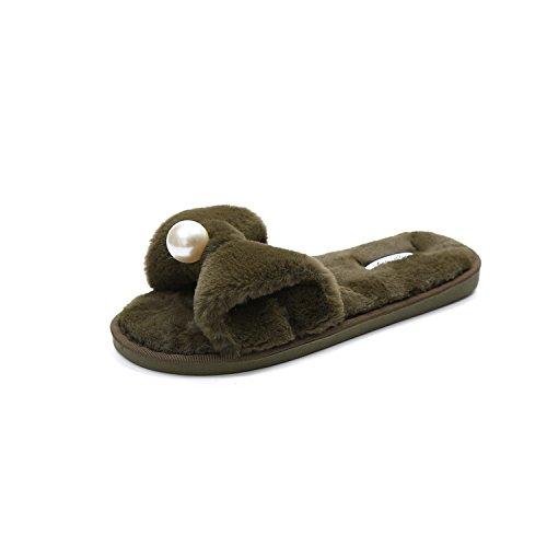 LaxBa Femmes Hommes Chaussures Slipper antiglisse intérieur Vert armée