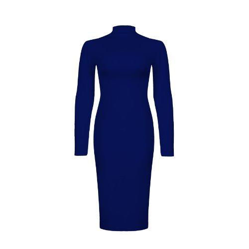 Oops Outlet Damen Poloshirt, Langarm, Rollkragen, Stretch Spannbetttuch, enganliegend, Gr. 34-40 Blau - Navy