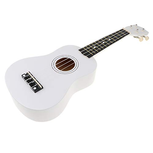 Fenteer Hochwertig Sopran Ukulele Hawaii Gitarre Holz Musik Spielzeug, Geschenk für Geburtstag und Weihnachten - Weiß
